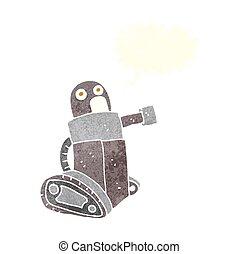 cartoon tank robot with speech bubble