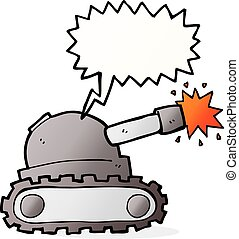 cartoon tank with speech bubble