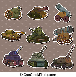 cartoon Tank/Cannon Weapon stickers