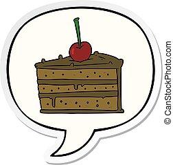 cartoon tasty chocolate cake and speech bubble sticker