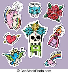 Cartoon Tattoo Stickers Set