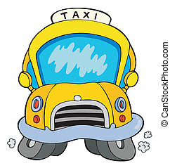 Cartoon taxi car - vector illustration.