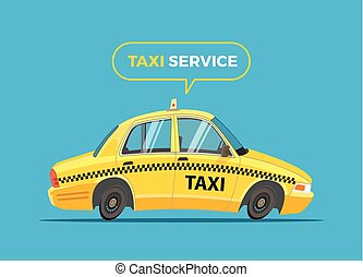 Cartoon Taxi Vector Illustration.