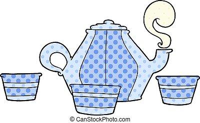 cartoon teapot and cups