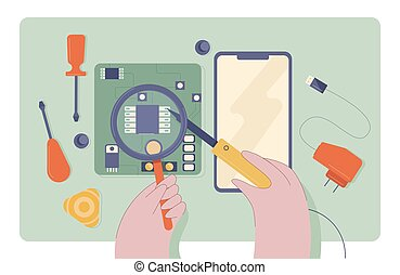 Cartoon technician male hands mobile phone repair use tools top view vector flat illustration. Close up maintenance service and expertise of damage electronic device on desk isolated on white