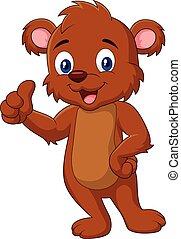 Cartoon teddy bear giving thumb up