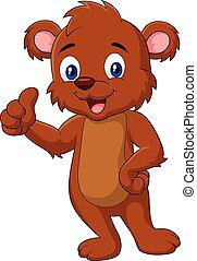 Cartoon teddy bear giving thumb up - adorable, animal,...