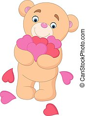 Cartoon teddy bear hugging bunch of heart - Vector...
