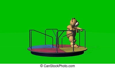 cartoon teddy bear moves carousel on green screen