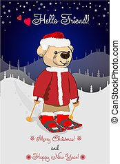 Cartoon teddy bear skiing on a snowy winter background. Greeting card for design.