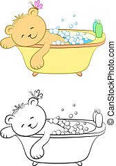 Teddy Bear Washes in the Bath - Cartoon Teddy Bear Washes in...