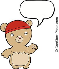 cartoon teddy bear wearing hat with speech bubble