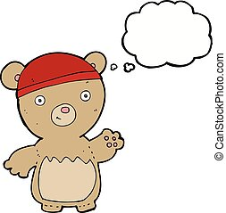 cartoon teddy bear wearing hat with thought bubble