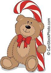 Cartoon teddy bear with big candy. Vector illustration.