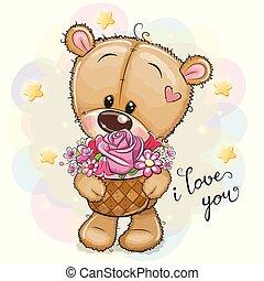 Cartoon Teddy Bear with flowers