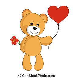 cartoon teddy bear with heart balloon and flower. valentines design element