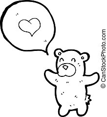 cartoon teddy bear with love heart