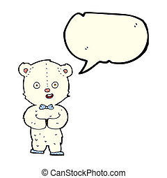 cartoon teddy polar bear with speech bubble