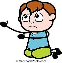 Cartoon Teen Boy Begging