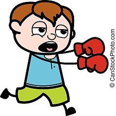 Cartoon Teen Boy Boxing