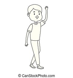 cartoon teen boy waving icon, flat design