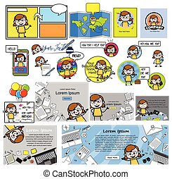 Cartoon Teen Girl with Various Concepts - Collection of Vector illustrations