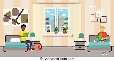 Cartoon teen male students in dormitory room.