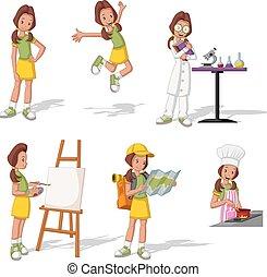 Cartoon teenage girl in different activities.