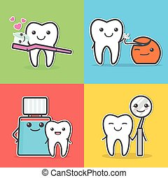 Cartoon teeth care and hygiene illustrations