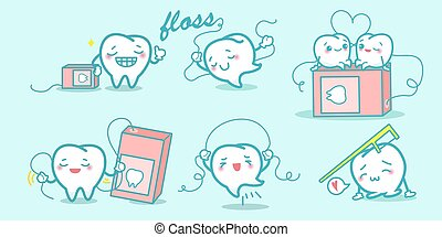 Cartoon teeth playing with floss - Cartoon teeth enjoy...