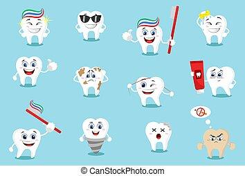 Cartoon teeth. Vector