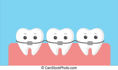 Cartoon teeth with braces. - Cartoon teeth with...