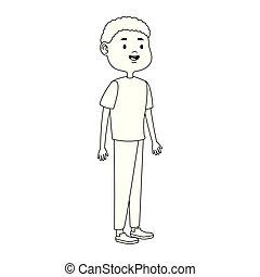 cartoon tennage boy icon, flat design