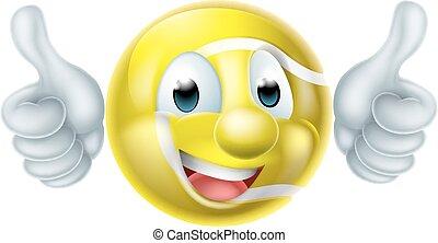 Cartoon Tennis Ball Character