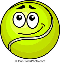 Vector illustration of a cute little fluorescent green cartoon tennis ball with a wry smile and raised eyebrows isolated on white