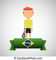 cartoon tennis player brazilian label