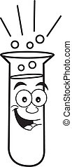 Cartoon test tube - Black and white illustration of a test...