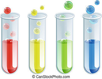 Cartoon Test Tubes - An illustration of four different...
