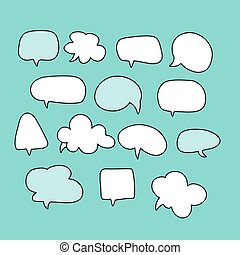Cartoon text balloons, speech bubbles doodle vector set. Empty comic speach shapes of thinking or speaking. Vector Illustration