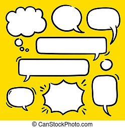 Cartoon text balloons, speech bubbles doodle vector set. Empty word comic shapes of thinking or speaking. Illustrations stored as symbols.