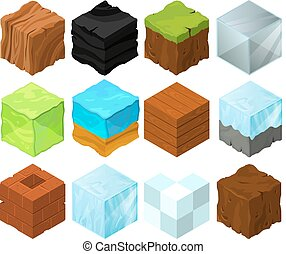 Cartoon texture illustration on different isometric blocks for game design
