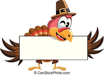 Cartoon Thanksgiving Turkey holding blank banner isolated