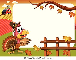 Cartoon thanksgiving turkey in countryside showing white...