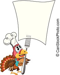 Cartoon Thanksgiving Turkey with cook hat looking at forked...