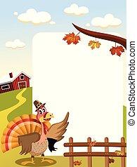 cartoon thanksgiving turkey with pilgrim hat in countryside...
