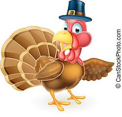 Cartoon Thanksgivng Pilgrim Hat Turkey Bird Pointing