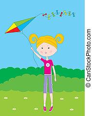 Cartoon the girl with a kite