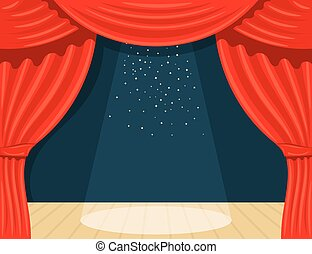 Cartoon theater. Theater curtain with spotlights beam and stars. Open theater curtain. Red