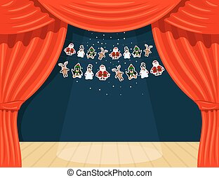 Cartoon theater. Theater curtain with spotlights beam, stars and garlands with Santa Claus.