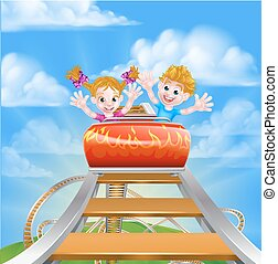 Cartoon Theme Park Roller Coaster - Cartoon happy boy and...